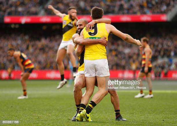 Bachar Houli and Trent Cotchin of the Tigers celebrate during the 2017 Toyota AFL Grand Final match between the Adelaide Crows and the Richmond...