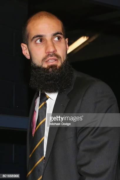 Bachar Houli of the Richmond Tigers arrives at the AFL tribunal on June 27 2017 in Melbourne Australia