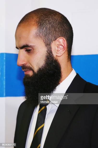 Bachar Houli of the Richmond Tigers arrives for the AFL appeal against his two week suspension at AFL House on June 29 2017 in Melbourne Australia