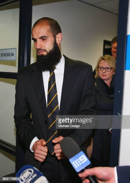 Bachar Houli of the Richmond Tigers leaves after receiving a four week suspension at the AFL Appeals trial at AFL House on June 29 2017 in Melbourne...