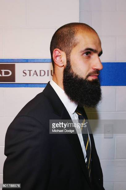 Bachar Houli of the Richmond Tigers leaves the AFL tribunal on receiving a two week suspension for striking Jed Lamb of Carlton on June 27 2017 in...