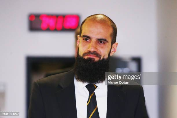 Bachar Houli of the Richmond Tigers leaves the hearing room before deliberation He received a four week suspension at the AFL Appeals trial at AFL...