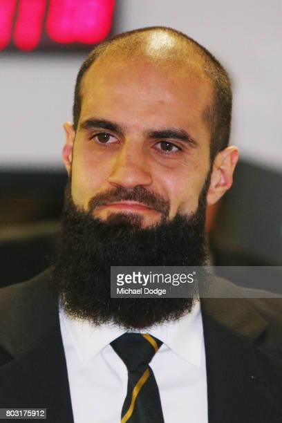 Bachar Houli of the Richmond Tigers reacts after receiving a four week suspension at the AFL Appeals trial at AFL House on June 29 2017 in Melbourne...