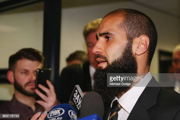 Bachar Houli of the Richmond Tigers speaks to media after receiving a four week suspension at the AFL Appeals trial at AFL House on June 29 2017 in...