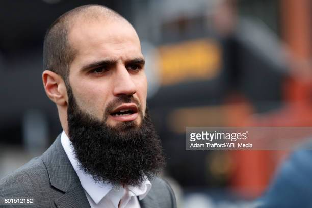 Bachar Houli of the Tigers addresses the media during the Bachar Houli Programs 2017 AFL Eid Celebration at Punt Road Oval on June 26 2017 in...
