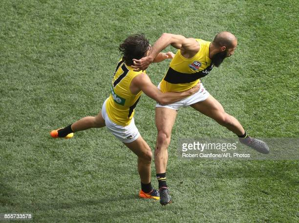Bachar Houli of the Tigers celebrates after scoring a goal during the 2017 AFL Grand Final match between the Adelaide Crows and the Richmond Tigers...