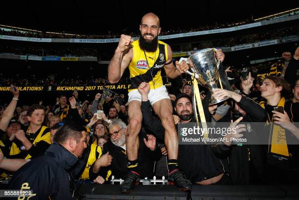 Bachar Houli of the Tigers celebrates during the 2017 Toyota AFL Grand Final match between the Adelaide Crows and the Richmond Tigers at the...