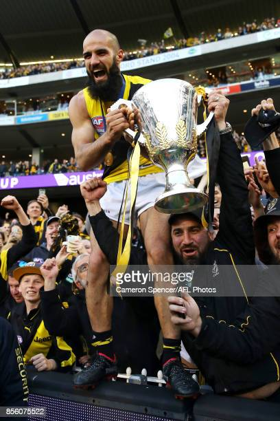 Bachar Houli of the Tigers celebrates with fans after winning the 2017 AFL Grand Final match between the Adelaide Crows and the Richmond Tigers at...