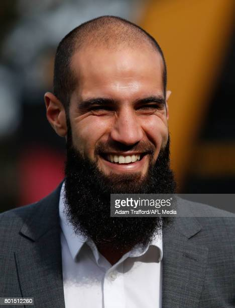 Bachar Houli of the Tigers chats to Bachar Houli Academy participants during the Bachar Houli Programs 2017 AFL Eid Celebration at Punt Road Oval on...
