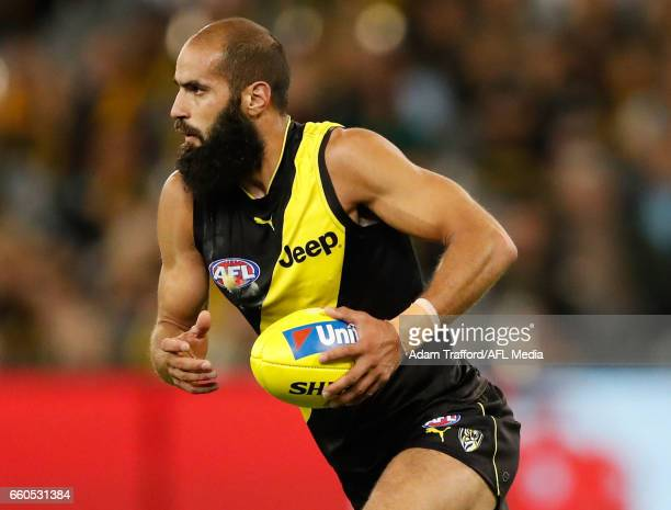 Bachar Houli of the Tigers in action during the 2017 AFL round 02 match between the Richmond Tigers and the Collingwood Magpies at the Melbourne...