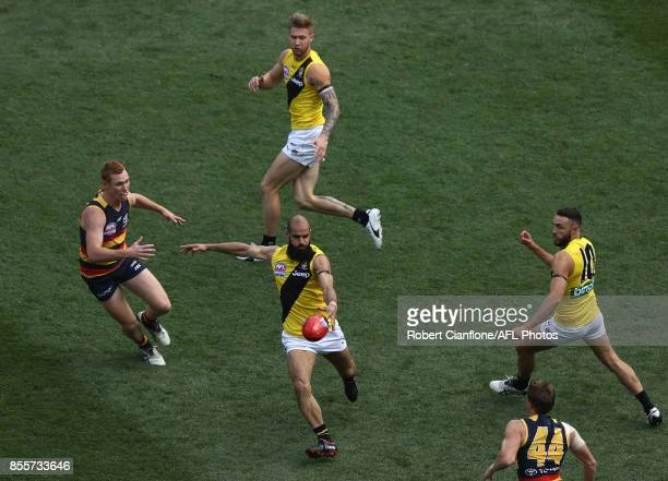 Bachar Houli of the Tigers kicks the ball during the 2017 AFL Grand Final match between the Adelaide Crows and the Richmond Tigers at Melbourne...