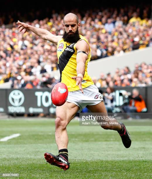 Bachar Houli of the Tigers kicks the ball during the 2017 Toyota AFL Grand Final match between the Adelaide Crows and the Richmond Tigers at the...