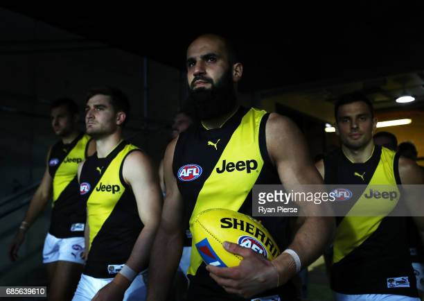 Bachar Houli of the Tigers leads his team out during the round nine AFL match between the Greater Western Sydney Giants and the Richmond Tigers at...