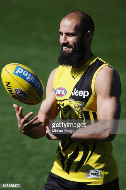 Bachar Houli of the Tigers looks upfield during a Richmond Tigers AFL training session at Punt Road Oval on September 26 2017 in Melbourne Australia