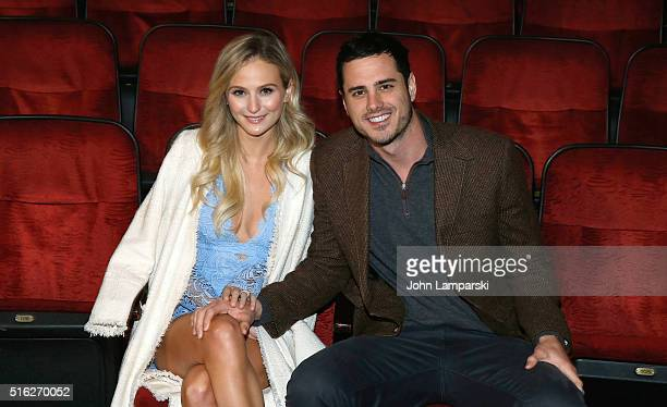 'Bachelor' Fiancee Lauren Bushnell and Ben Higgins visit 'The Lion King' on Broadway at Minskoff Theatre on March 17 2016 in New York City