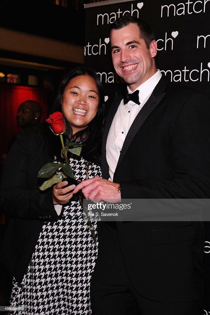 A bachelor poses with a guest at The Match Bachelor Showcase benefiting The American Heart Association hosted by Wendy Williams on September 29, 2014 in New York City.