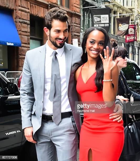 Bachelorette's Rachel Lindsay and her fiance Bryan Abasolo are seen arriving 'Aol Live' on August 8 2017 in New York City
