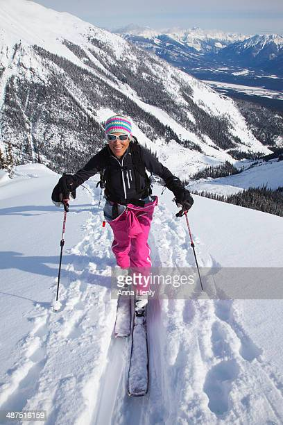 Back country or ski touring in the snowy mountains