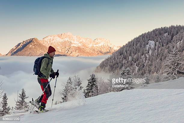 Back country Ski touring in alps with Untersberg in background