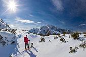 Ski touring in alps at Mount Watzmann