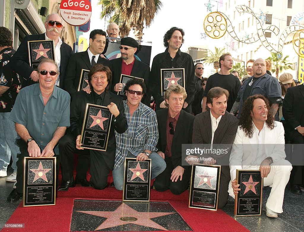 journey honored a star on the hollywood walk of fame for george tickner robert fleischman steve smith and deen castronovo front aynsley dunbar