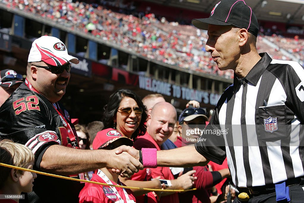 Back judge Tony Steratore #112 greets fans before a game against the San Francisco 49ers and the Buffalo Bills on October 7, 2012 at Candlestick Park in San Francisco, California. The 49ers won 45-3.