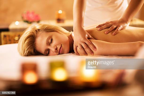 Back massage at the spa.