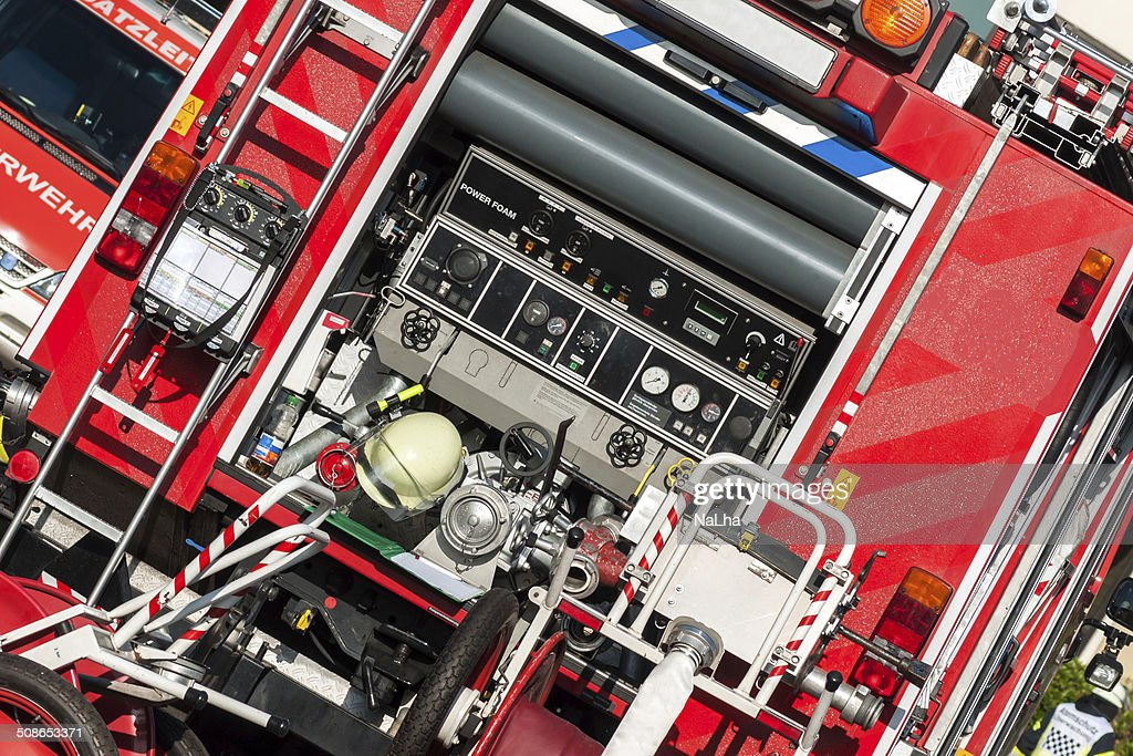 Back of a fire truck with respiratory protective devices : Stock Photo
