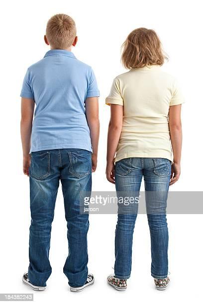 Rückseite des Jungen und Mädchen