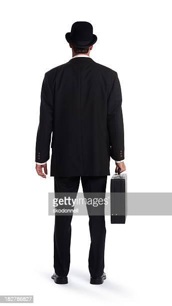Rückseite des Business-Mann auf Weiß
