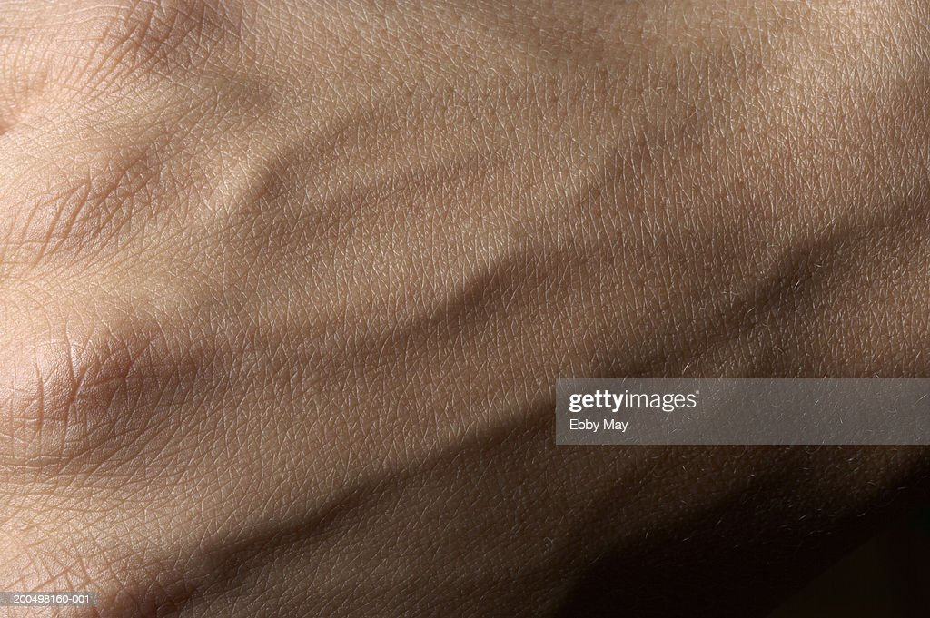Back of hand with veins, close up