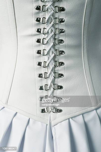 Back of White Leather Corset Ties