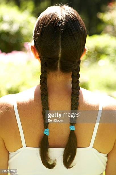 Back of woman's head with braides