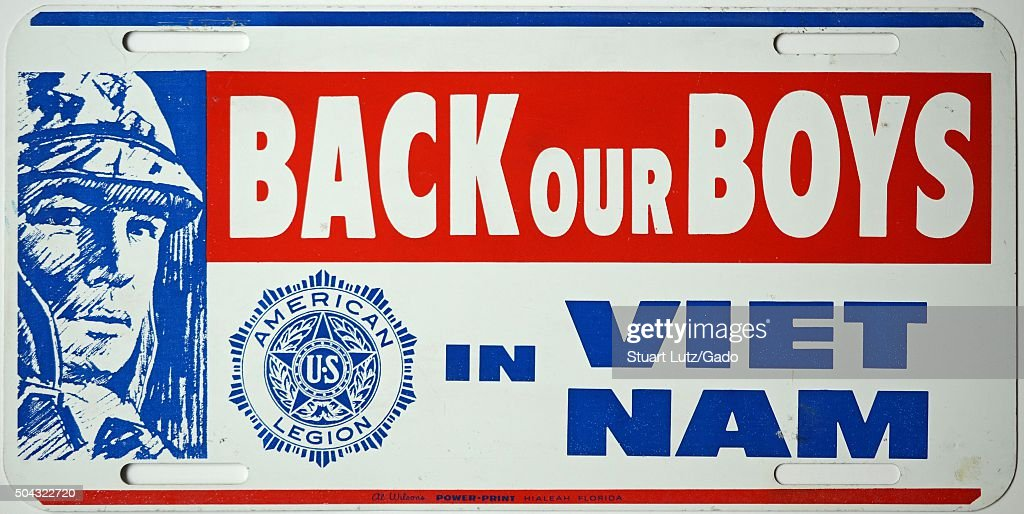 Back Our Boys in Vietnam license plate from the American Legion supporting soldiers in the Vietnam War with red white and blue lettering and a...