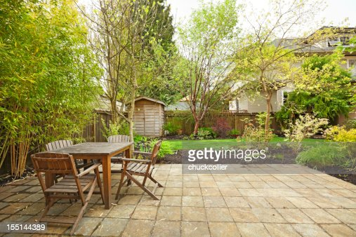 Back patio table setting and garden