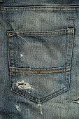 Back pocket of worn torn jeans