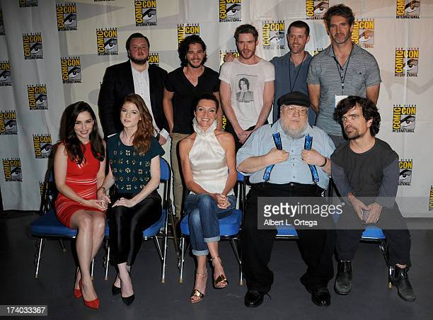 Back row Actors John Bradley Kit Harington Richard Madden writers DB Weiss and David Benioff Front row Actors Emilia Clarke Rose Leslie Michelle...