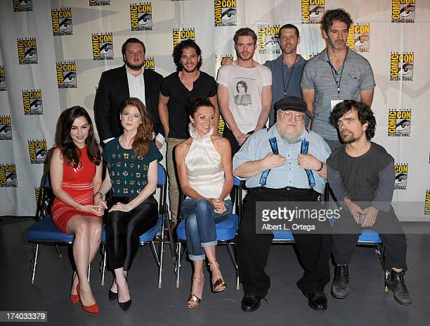 Back row Actors John Bradley Kit Harington Richard Madden writers DB Weiss and David Benioff Front row Actors Emilia Clarke Rose Leslie Michelle...