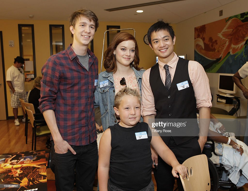 Back row Actors Thomas Mann Jane Levy Osric Chau and Jackson Nicoll attend 'Fun Size' Special Screening At Children's Hospital Los Angeles at...