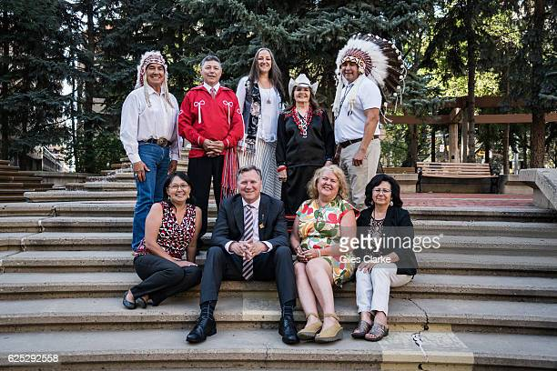 Back row Chief Wilton Littlechild Gerald Cunningham Sandra Sutter Chair Metis Women's Economic Security Council Muriel Stanley Venne Randy Ermineskin...