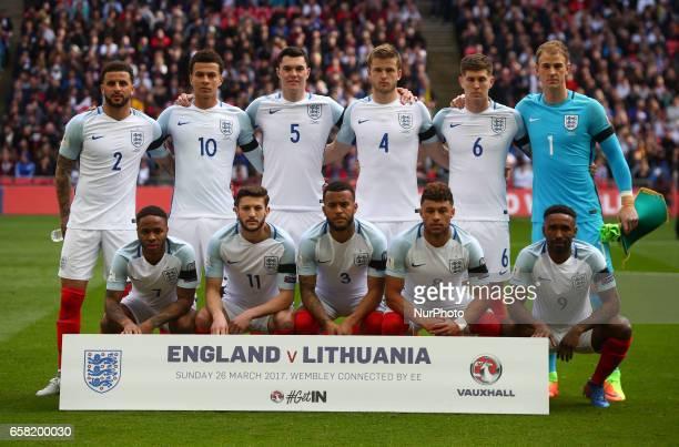 LR Back Row England's Kyle Walker England's Dele Alli England's Micheal Keane England's Eric Dier England's John Stones and England's Joe Hart LR...