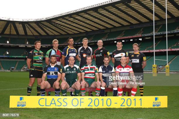 Back row from left Northampton's Dylan Hartley Harlequins' Chris Robshaw Leeds' Andy Keys Newcastle's James Hudson Saracens' Steve Borthwick Exeter's...