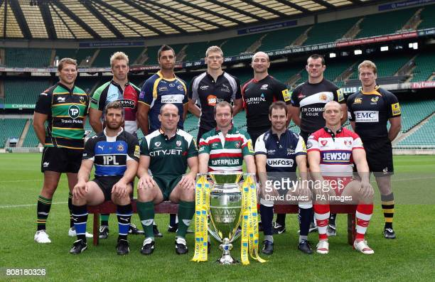 Back row from left Northampton's Dylan Hartley Harlequins Chris Robshaw Leeds Andy Keys Newcastle's James Hudson Saracens Steve Borthwick Exeter's...