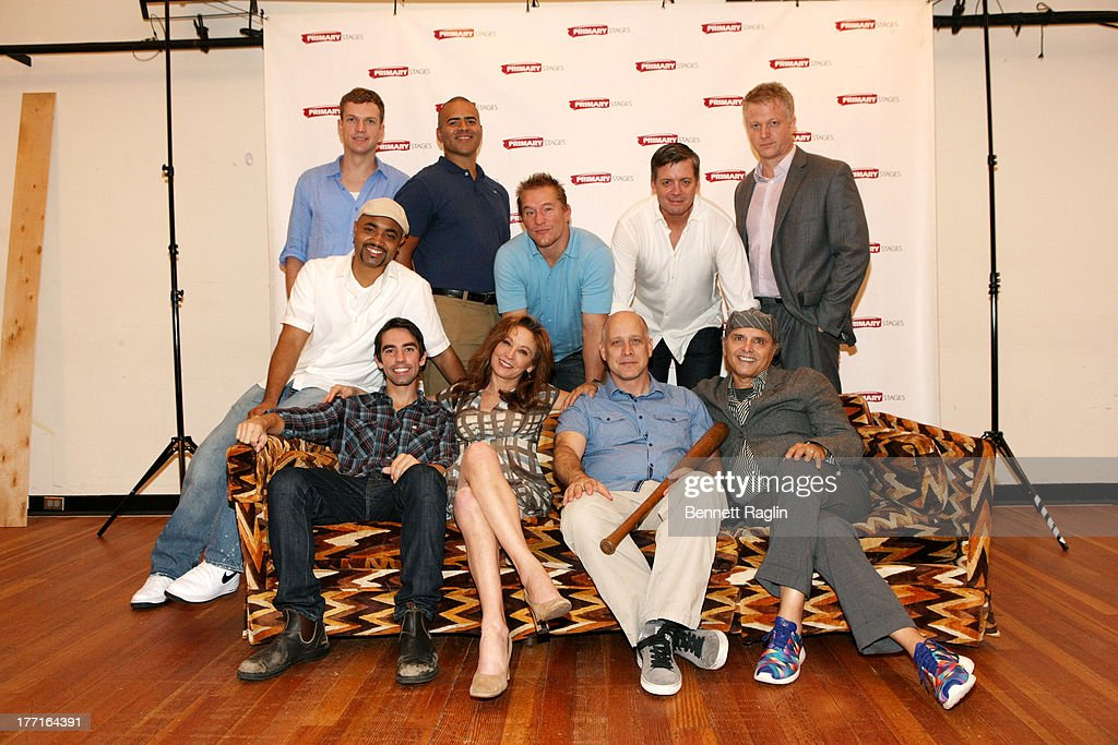 Back row John Wernke, Francois Battiste, Bill Dawes, Chris Henry Coffey, and C.J. Wilson front row Keith Noobs, Wendy Makkena, Eric Simonson, and Joe Pantoliano attend the cast meet and greet for the upcoming Off-Broadway production 'Bronx Bombers' at Playwrights Horizons Rehearsal Studios on August 21, 2013 in New York City.
