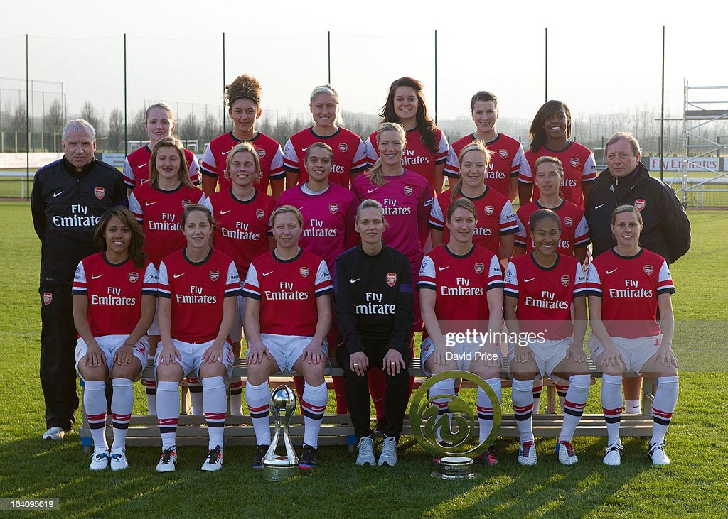 Back row (L-R) Kim Little, Jade Bailey, Steph Houghton, Jennifer Beattie, Niamh Fahey, Danielle Carter. Middle row (L-R) John Bayer (Assistant Manager), Ellen White, Gilly Flaherty, Rebecca Spencer, Emma Byrne, Gemma Davison, Jordan Nobbs, Vic Akers (General Manager). Front row (L-R) Alex Scott, Yvonne Tracy, Jayne Ludlow, Shelley Kerr (Manager), Ciara Grant, Rachle Yankey and Kelly Smith. Ladies photo shoot at Arsenal Training Ground on March 19, 2013 in St. Albans, Hertfordshire, England.