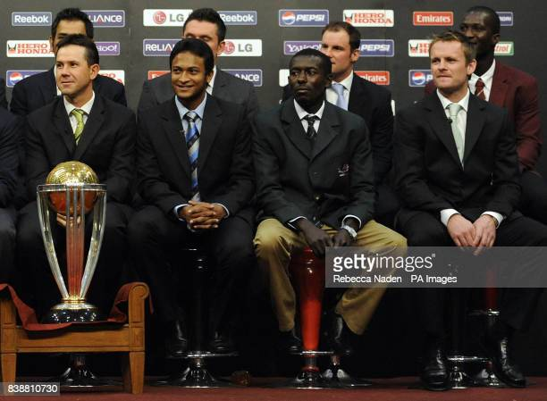 MS Dhoni Graeme Smith Andrew Strauss and Darren Sammy Front Row Ricky Ponting Shakib Al Hasan Jimmy Kamande and William Porterfield with the Cricket...