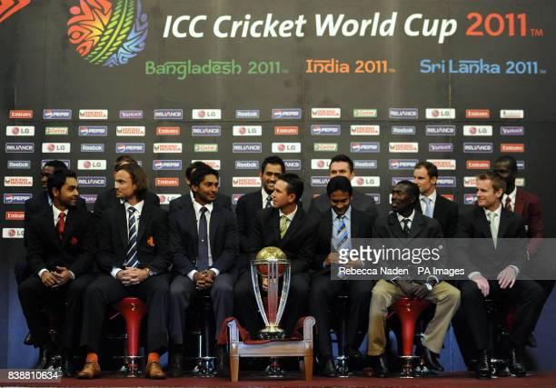 Elton Chigumbura Daniel Vettori Shahid Afridi MS Dhoni Graeme Smith Andrew Strauss and Darren Sammy Front Row Ashish Bagai Peter Borren Kumar...
