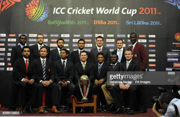 Elton Chigumbura Daniel Vettori Shahid Afridi MS Dhoni Graeme Smith Andrew Strauss and Darren Sammy Front Row Left to Right Ashish Bagai Peter Borren...