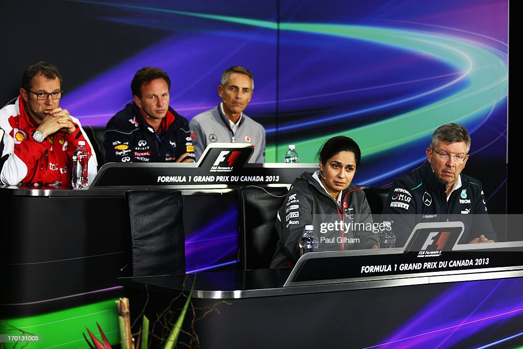 Back row left to right, Ferrari Team Principal <a gi-track='captionPersonalityLinkClicked' href=/galleries/search?phrase=Stefano+Domenicali&family=editorial&specificpeople=544864 ng-click='$event.stopPropagation()'>Stefano Domenicali</a>, Infinti Red Bull Racing Team Principal <a gi-track='captionPersonalityLinkClicked' href=/galleries/search?phrase=Christian+Horner&family=editorial&specificpeople=228706 ng-click='$event.stopPropagation()'>Christian Horner</a>, McLaren Team Principal Martin Whimarsh and front row left to right Sauber Team Principal Monisha Kaltenborn and Mercedes GP Team Principal <a gi-track='captionPersonalityLinkClicked' href=/galleries/search?phrase=Ross+Brawn&family=editorial&specificpeople=220932 ng-click='$event.stopPropagation()'>Ross Brawn</a> look towards the empty chair which was due to be filled by Paul Hembery the Motorsport Director of Pirelli at the official press conference following practice for the Canadian Formula One Grand Prix at the Circuit Gilles Villeneuve on June 7, 2013 in Montreal, Canada.