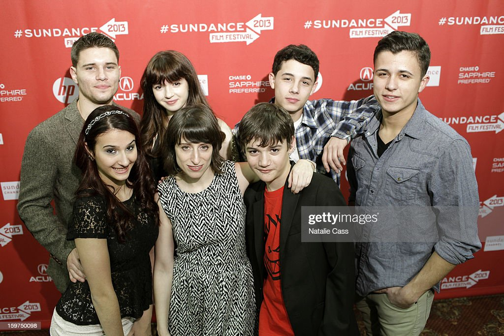 (Back row Left to right Ronen Rubinstein, Eliza Hittman, Gina Piersanti, Jesse Cordasco, Andrew McCord and Case Prime.(front row left to right) Actors Giovanna Salimeri, Eliza Hittman and Case Prime attend the 'It Felt Like Love' premiere at Yarrow Hotel Theater during the 2013 Sundance Film Festival on January 19, 2013 in Park City, Utah.